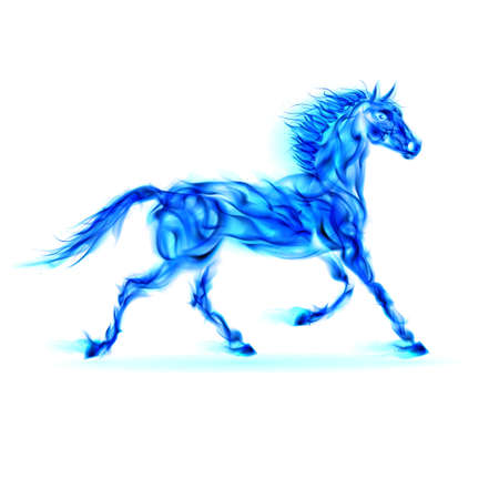 scorch: Blue fire horse in motion on white background.