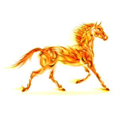 devilish: Fire horse in motion on white background.
