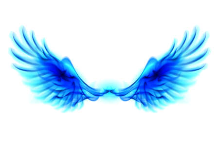 Illustration of blue fire wings on white background.