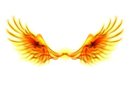 白い背景の上の火の翼のイラスト。