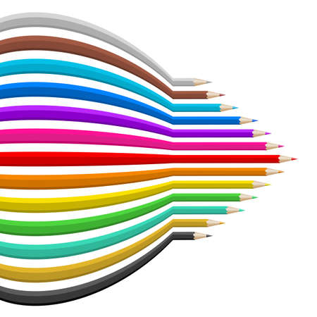 sharp curve: Color pencils in abstract shape. Illustration on white background. Illustration