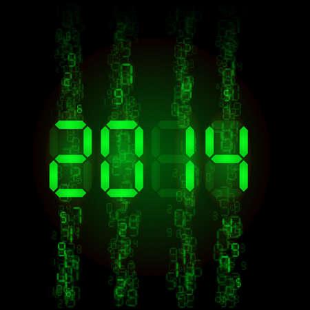 tableau: New Year 2014: green digital numerals on black.