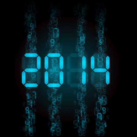 New Year 2014: blue digital numerals on black. Vector