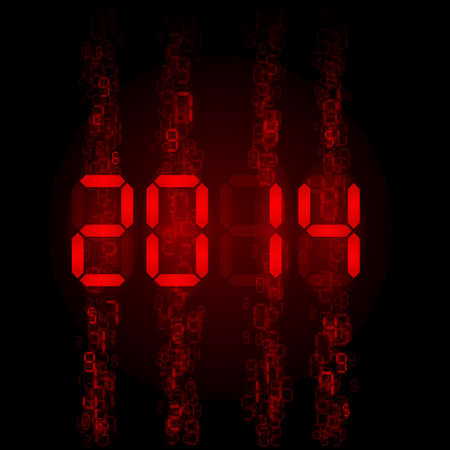 New Year 2014: red digital numerals on black. Vector