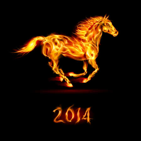 devilish: New Year 2014: running fire horse on black background.