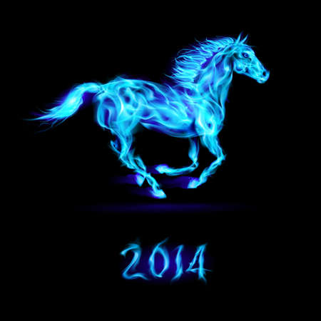 New Year 2014: running blue fire horse on black background. Vector