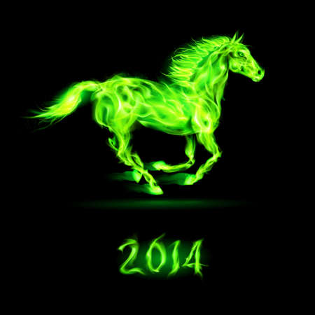 devilish: New Year 2014: running green fire horse on black background.