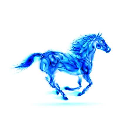 Illustration of running blue fire horse on white background.