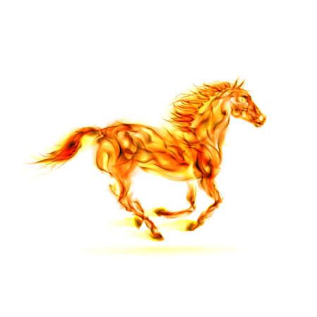 intense: Illustrazione di cavallo corrente fuoco su sfondo bianco. Vettoriali
