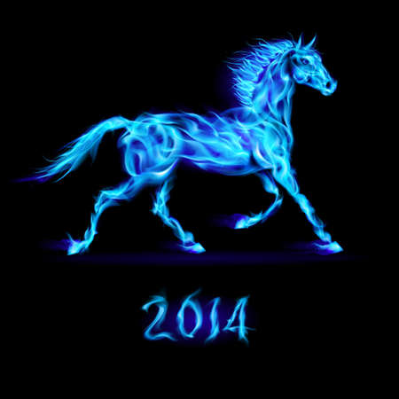 New Year 2014: blue fire horse on black background. Vector