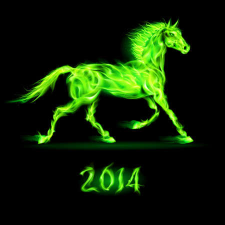 flamy: New Year 2014: green fire horse on black background. Illustration