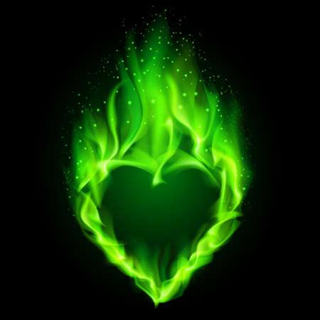 Blazing green heart. Illustration on black background.