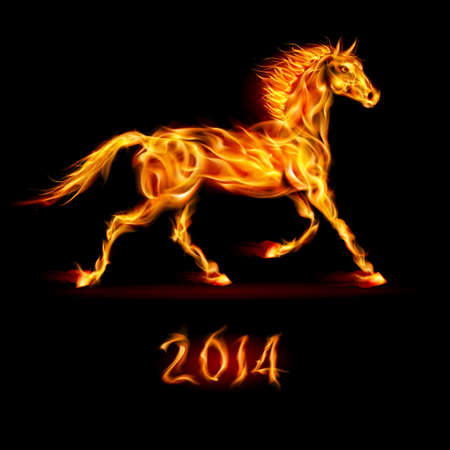 New Year 2014: fire horse on black background. Vector