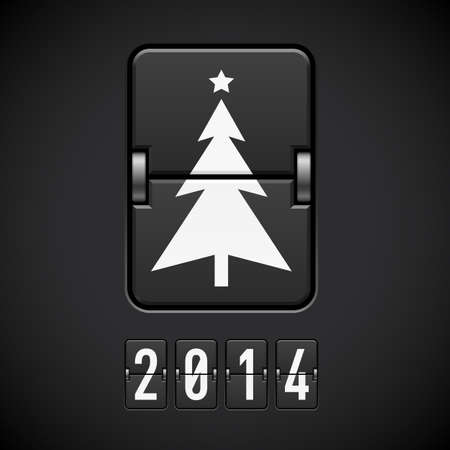 Scoreboard New Year tree and 2014 number. Vector