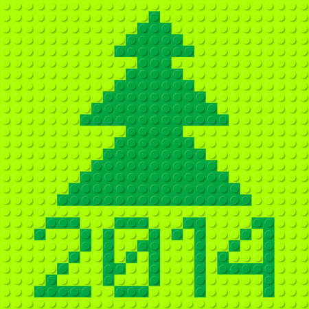 plastic texture: New Year tree and 2014 in plastic construction kit texture. Illustration