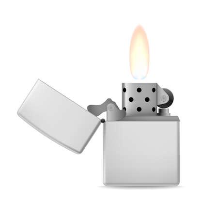 Open metal lighter with flame on white background. Vector
