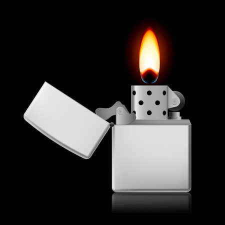 Open metal lighter with flame on black background. Vector