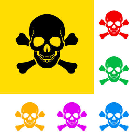 poison symbol: Danger sign of skull and cross bones with color variations.  Illustration