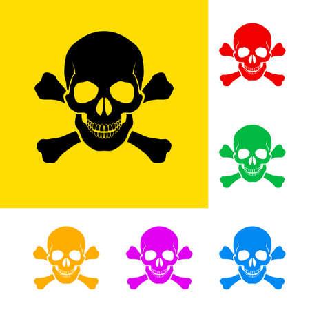 cross bones: Se�al de peligro del cr�neo y huesos cruzados con variaciones de color.