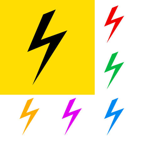 Danger sign of high voltage with color variations Stock Vector - 23684541