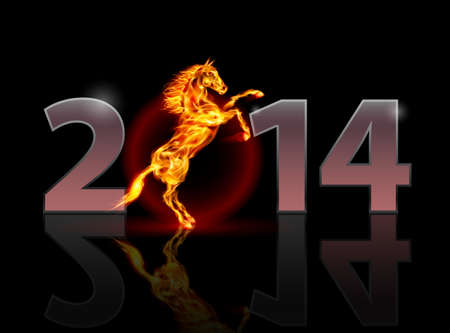 New Year 2014: metal numerals with fire horse. Illustration on black background. Vector