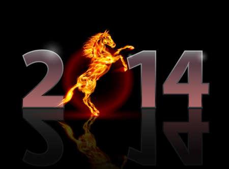 intense: Nuovo Anno 2014: i numeri del metallo con cavallo di fuoco. Illustrazione su sfondo nero.