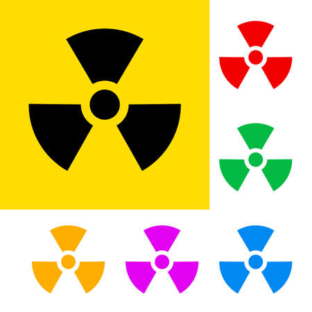 radioactive: Warning sign of radiation with color variations.