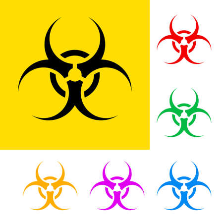 caution chemistry: Biohazard sign with color variations. Danger symbols.