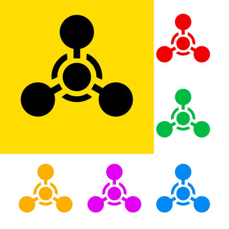 nuclear weapons: Warning sign of chemical weapon with color variations.   Illustration