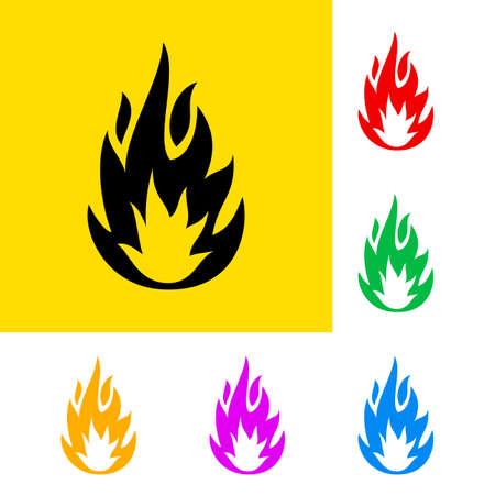 Waarschuwing teken van licht ontvlambare met kleurvariaties. Vector Illustratie