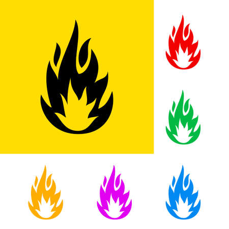 Warning sign of highly flammable with color variations.  Vector