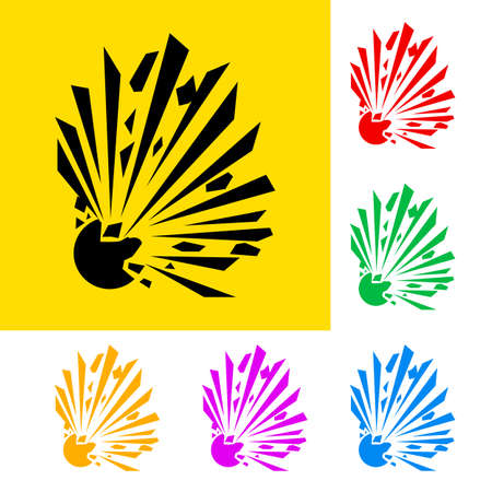Warning sign of explosion with color variations Vector