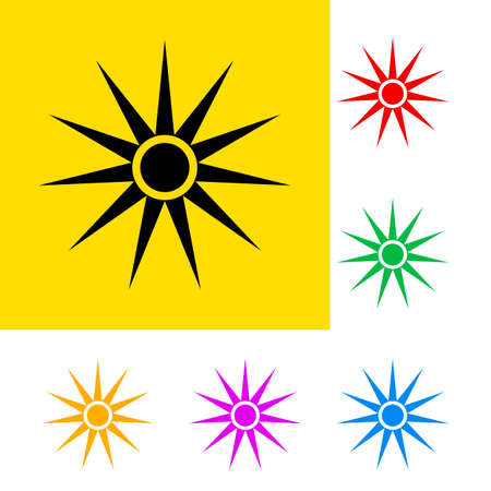 Warning sign of optical radiation with color variations.