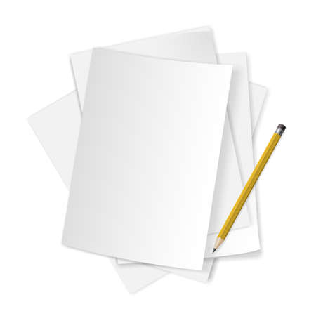 Pile of blank papers with pencil on white background.  Illustration