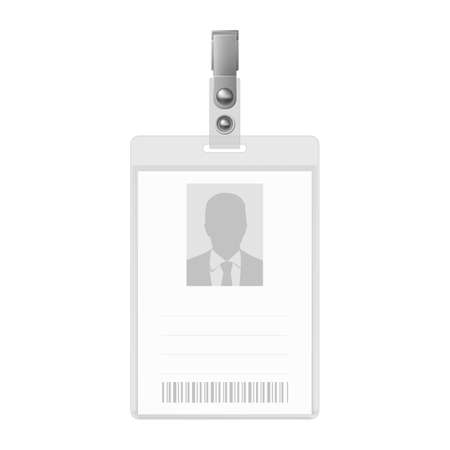 credential: Blank vertical badge on white background. Identification card template.