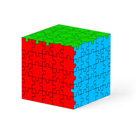 Colorful cube made of puzzle elements. Illustration on white background.   Vector