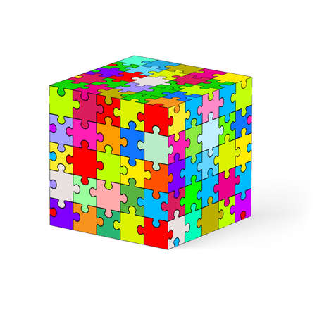 Cube made of colorful puzzle elements. Illustration on white background.   Vector