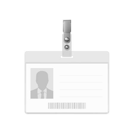 credential: Blank horizontal badge on white background. Identification card template.