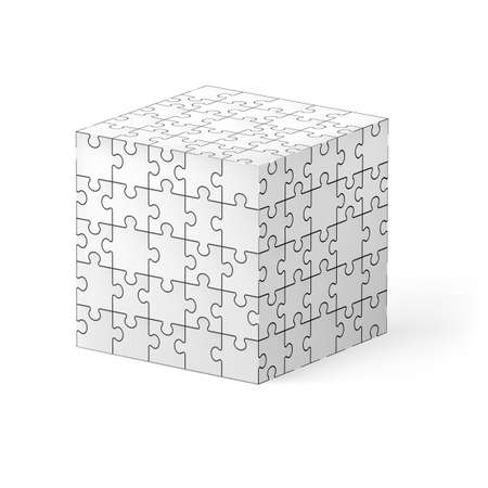 Cube made of white puzzle elements. Illustration on white background.   Vector