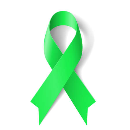 Kidney cancer awareness green ribbon on white background. Ilustrace