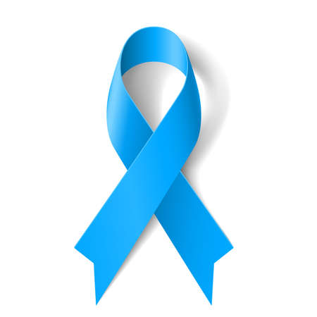 ribbon badge: Blue awareness ribbon on white background. Disease symbol.