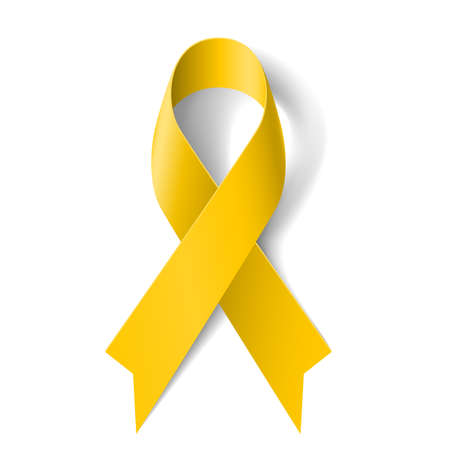 badge ribbon: Yellow awareness ribbon on white background. Bone cancer and troops support symbol.