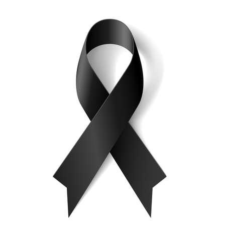 Ruban de conscience noire sur fond blanc. Deuil et symbole de mélanome.