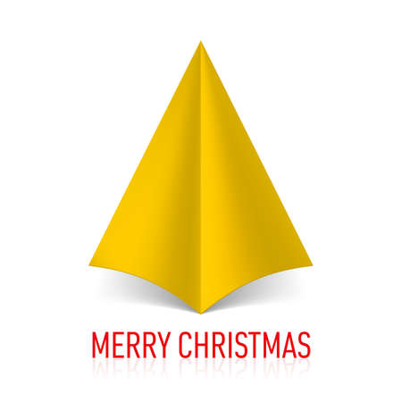 Abstract yellow paper Christmas tree on white background. Vector