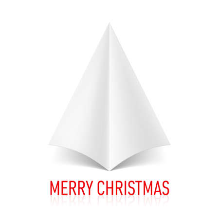 new year tree: Abstract white paper Christmas tree on white background. Greeting card.