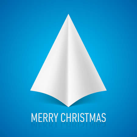 Abstract white paper tree on blue background. Christmas card. Vector