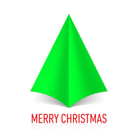 Abstract green paper Christmas tree on white background. Vector