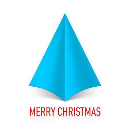 Abstract blue paper Christmas tree. Illustration on white background. Vector