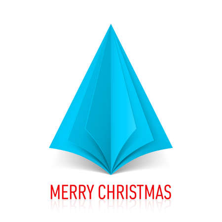 Abstract blue paper Christmas tree on white background. Vector