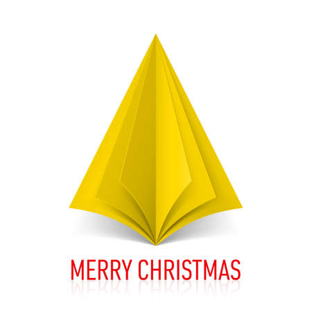papery: Abstract yellow paper Christmas tree on white background. Greeting card. Illustration